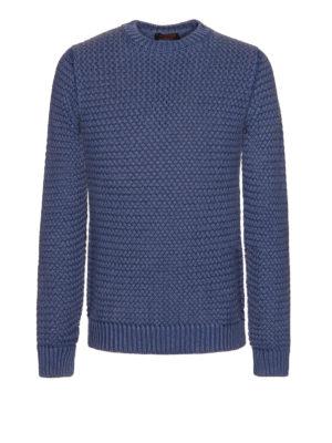 Tod'S: crew necks - Woven basket knitted wool jumper