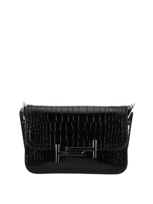 Tod'S: cross body bags - Double T croco print mini bag