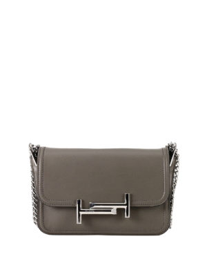 Tod'S: cross body bags - Double T grey leather mini bag