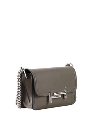Tod'S: cross body bags online - Double T grey leather mini bag