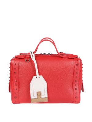 TOD'S: borse a tracolla - Bauletto in pelle rossa a grana con gommini