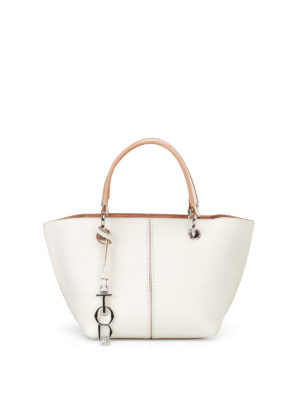 Tod'S: cross body bags - White grained leather bag