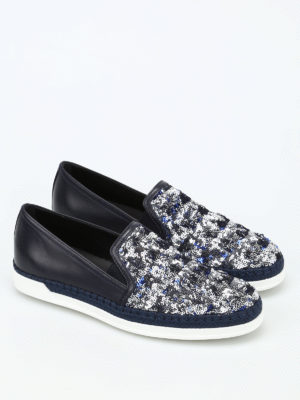 Tod'S: espadrilles online - Sequined leather espadrilles