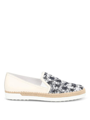 Tod'S: espadrilles - Sequined leather espadrilles
