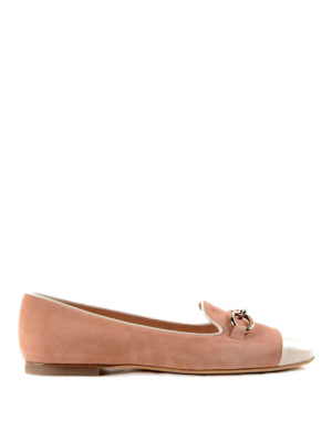 Tod'S: flat shoes - Chain detail suede slippers