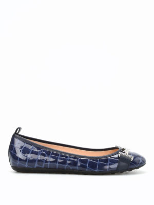 Tod'S: flat shoes - Croco print leather flat shoes