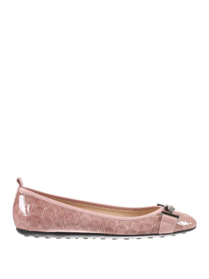 Tod'S: flat shoes - Croco print patent flat shoes