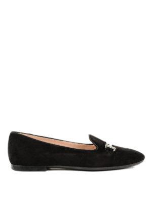 TOD'S: ballerine - Slipper nere in camoscio con doppia T