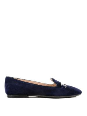 TOD'S: ballerine - Slipper blu in camoscio con doppia T