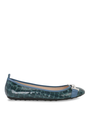 Tod'S: flat shoes - Double T croco leather ballerinas