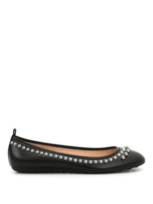 Tod'S: flat shoes online - Beads leather flats
