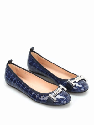 Tod'S: flat shoes online - Croco print leather flat shoes