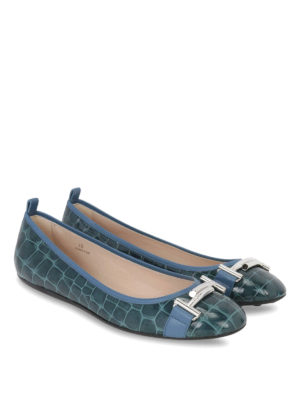 Tod'S: flat shoes online - Double T croco leather ballerinas