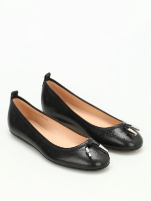 Tod'S: flat shoes online - Studded grainy leather ballerinas