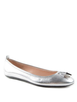 Tod'S: flat shoes online - Studded metallic leather ballerinas