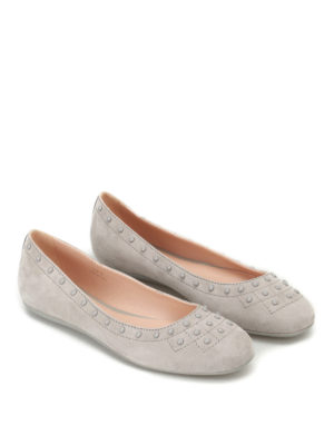 Tod'S: flat shoes online - Suede flats with pebbles