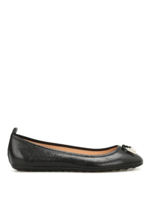 Tod'S: flat shoes - Studded grainy leather ballerinas