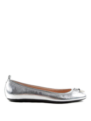 Tod'S: flat shoes - Studded metallic leather ballerinas