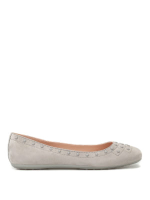 Tod'S: flat shoes - Suede flats with pebbles