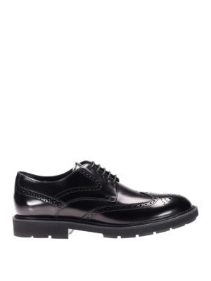 Tod'S: lace-ups shoes - Black brushed leather Derby brogues