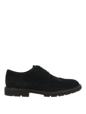 Tod'S: lace-ups shoes - Brogue lace-up blue suede shoes
