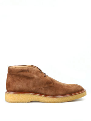 TOD'S: scarpe stringate - Polacchini in camoscio marrone