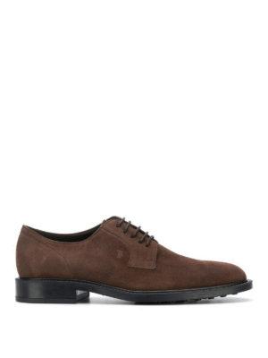 TOD'S: scarpe stringate - Derby stringate in camoscio marrone
