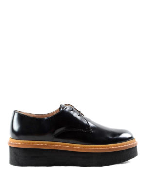 Tod'S: lace-ups shoes - Brushed leather platform lace-ups