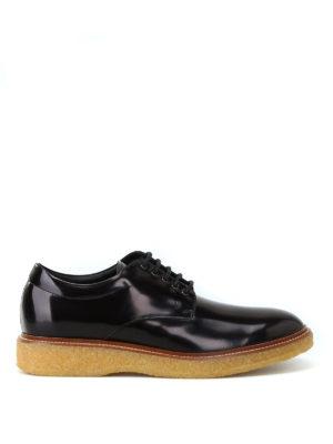 TOD'S: scarpe stringate - Stringate spazzolate con suola a contrasto