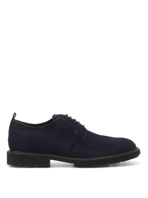 Tod'S: lace-ups shoes - Dark blue suede Derby brogues