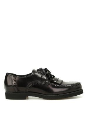 TOD'S: scarpe stringate - Derby in pelle con frange e nappe