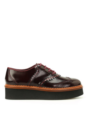 Tod'S: lace-ups shoes - Leather wedge Oxford shoes