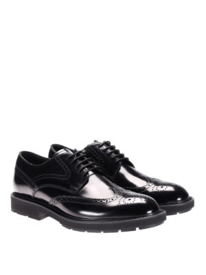 Tod'S: lace-ups shoes online - Black brushed leather Derby brogues