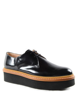 Tod'S: lace-ups shoes online - Brushed leather platform lace-ups