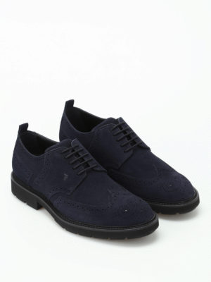 Tod'S: lace-ups shoes online - Dark blue suede Derby brogues