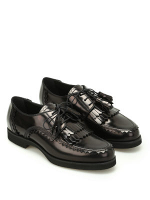 Tod'S: lace-ups shoes online - Leather Derby with tassels