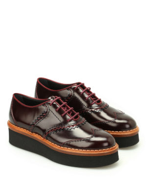 Tod'S: lace-ups shoes online - Leather wedge Oxford shoes