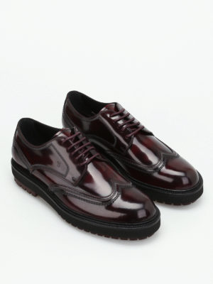 Tod'S: lace-ups shoes online - Shaded burgundy leather Derby shoes