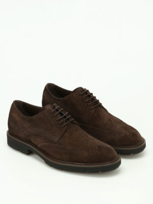 Tod'S: lace-ups shoes online - Soft suede brogued lace-ups