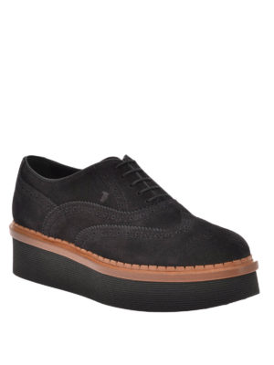 Tod'S: lace-ups shoes online - Suede wedge Oxford brogue