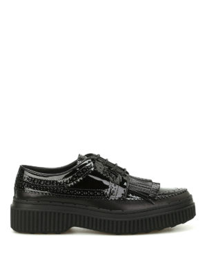 Tod'S: lace-ups shoes - Patent brogue fringed Derby shoes