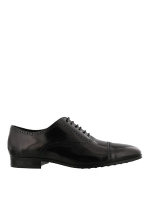 Tod'S: lace-ups shoes - Polished black leather Oxford shoes