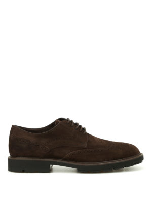 Tod'S: lace-ups shoes - Soft suede brogued lace-ups