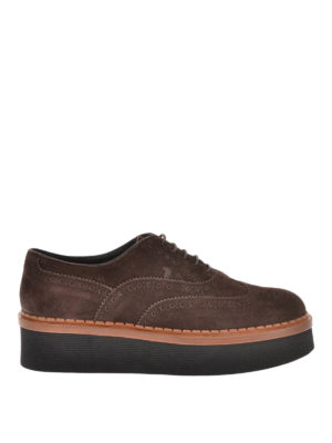 Tod'S: lace-ups shoes - Suede wedge Oxford brogue