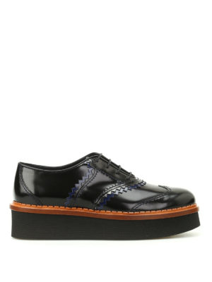 Tod'S: lace-ups shoes - Two-tone leather wedge Oxford shoes