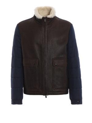 TOD'S: giacche in pelle - Giubbotto in montone e tecnotessuto piuma blu