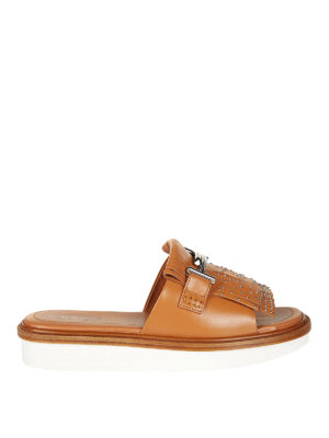 Tod'S: Loafers & Slippers - 23A Double T brown slide sandals