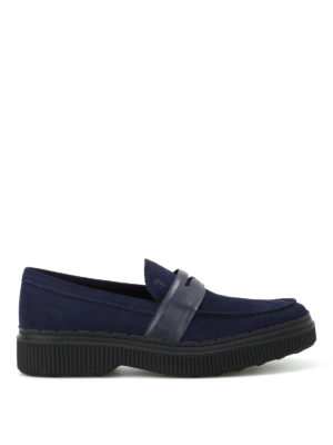 Tod'S: Loafers & Slippers - 39A suede and leather blue loafers