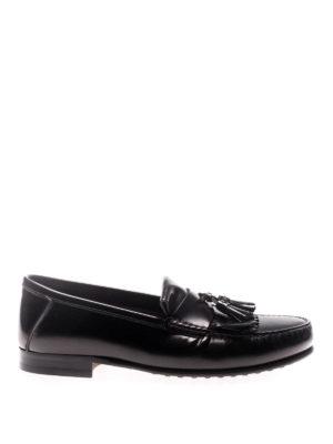 TOD'S: Mocassini e slippers - Mocassini neri con frangia e nappe