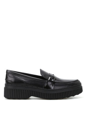 Tod'S: Loafers & Slippers - Black leather maxi sole loafers